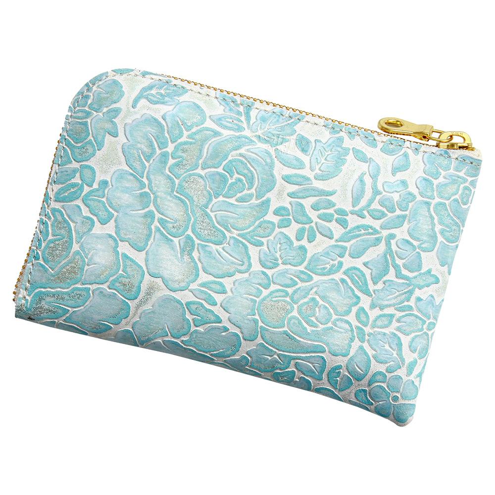 レディース l字財布 コンパクト 花柄 型押し 本革 レザー スマホが入る ブルー