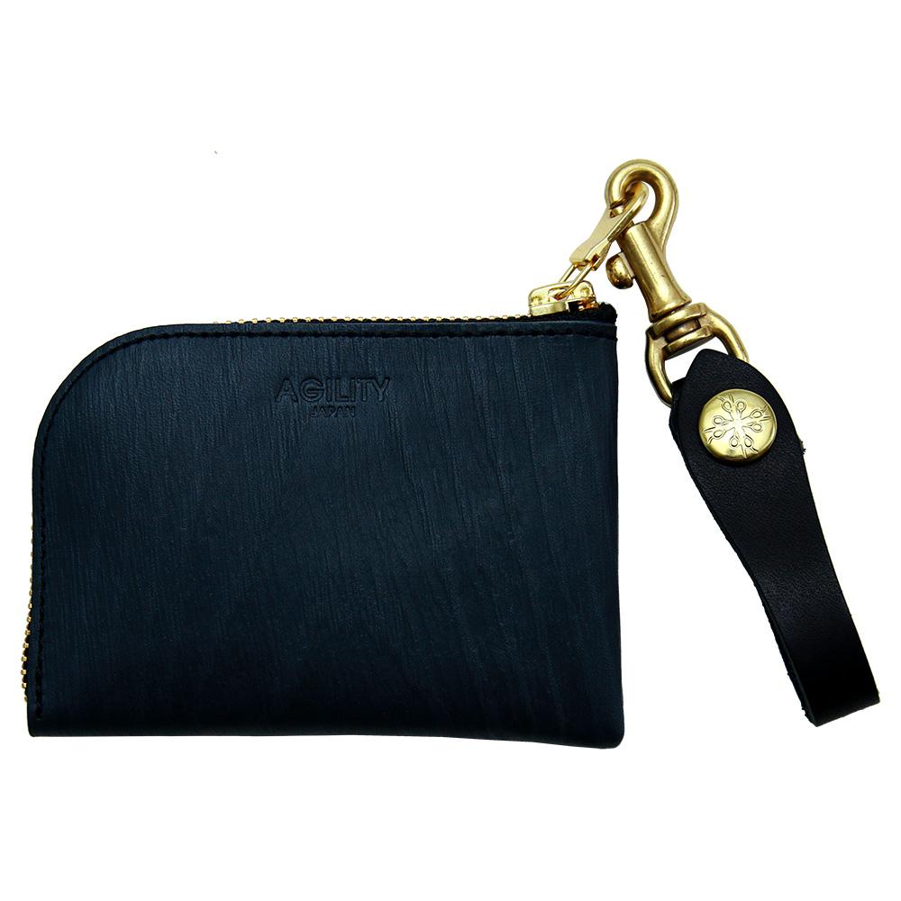 革財布 コインケース カードケース 日本製 L字ファスナー ブラック