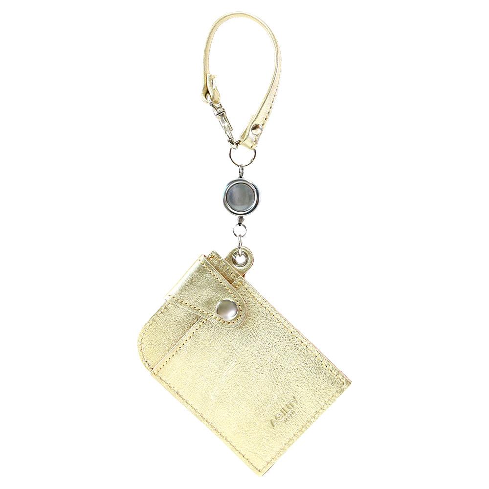 パスケース リール付き ゴールド シルバー 箔 メンズ レディース 本革 定期入れ ゴールド