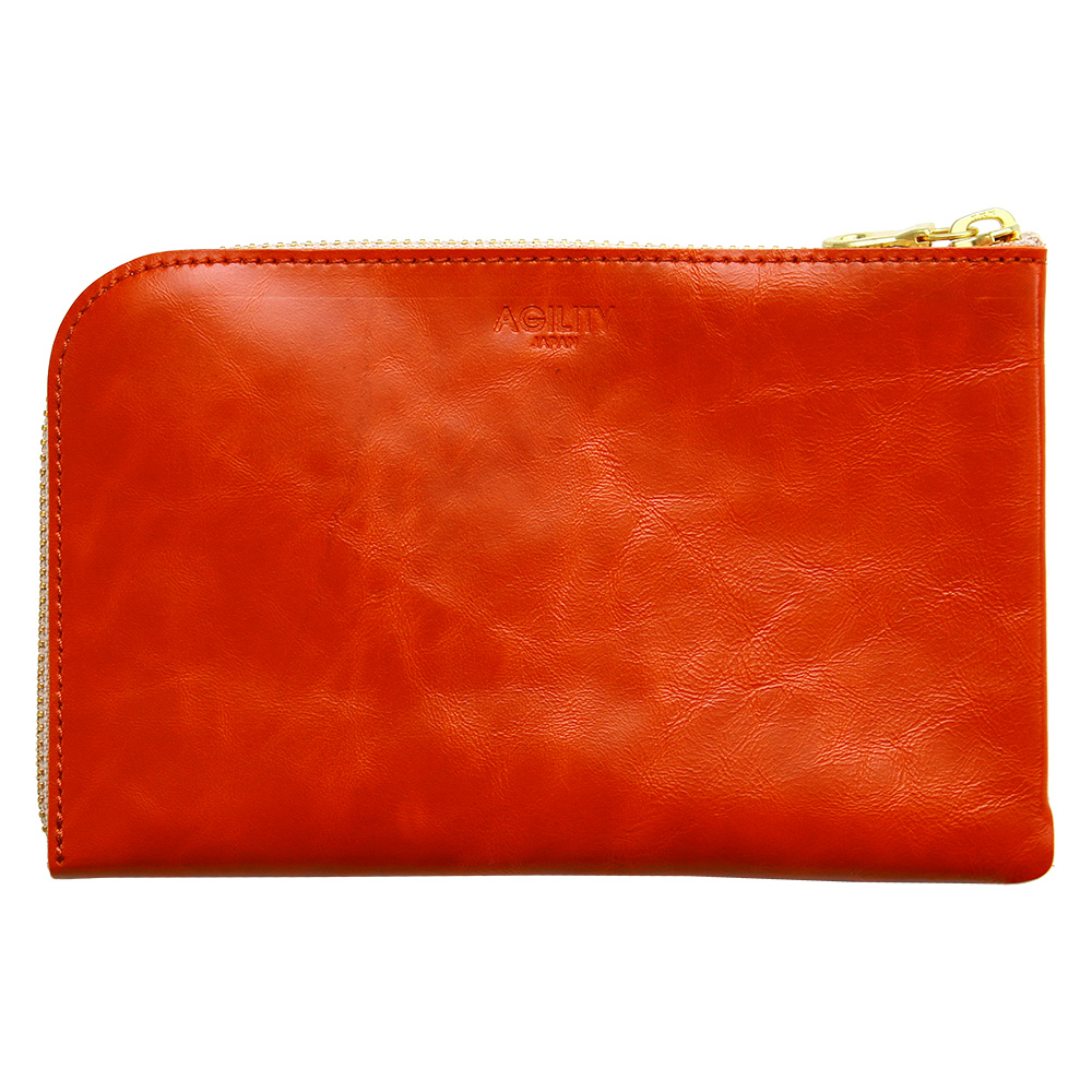 財布 ウォレット L字ファスナー パスポート スマートフォン ポシェット オレンジ