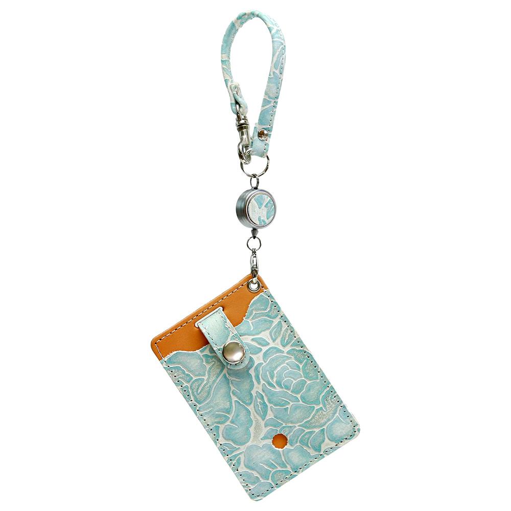 レディース パスケース リール付き 花柄 型押し 定期入れ icカード 2枚 ブルー