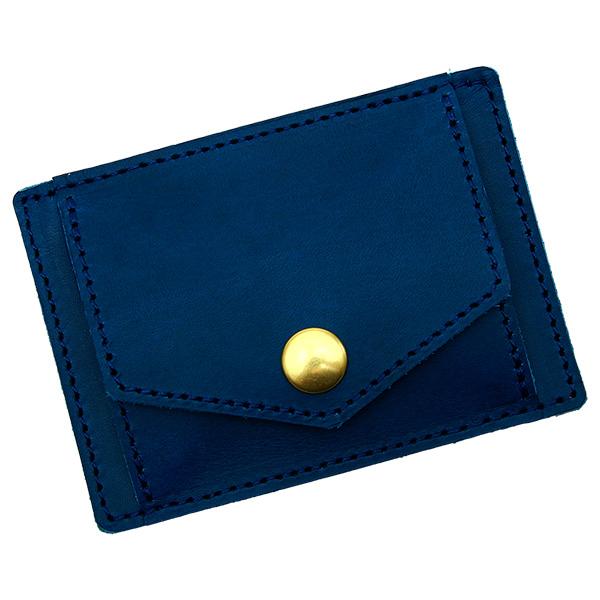 コインケース カードケース 一体型 フラット 薄い 革 レザー ミニ 小さい シンプルブルー