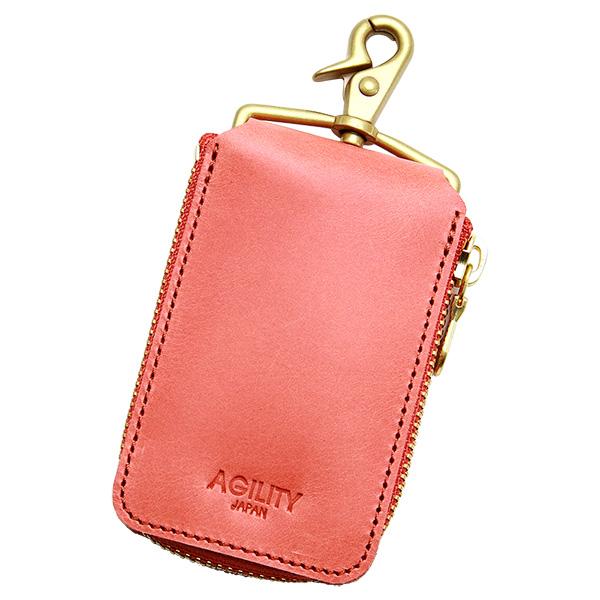 キーケース 革 スマートキー パスケース ラウンドファスナー 薄い ベルトループ ピンク