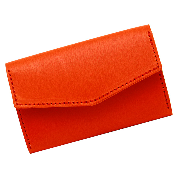 カードケース 名刺入れ ジャバラ 蛇腹 おしゃれ 革 レザー 薄型 フラップ  オレンジ