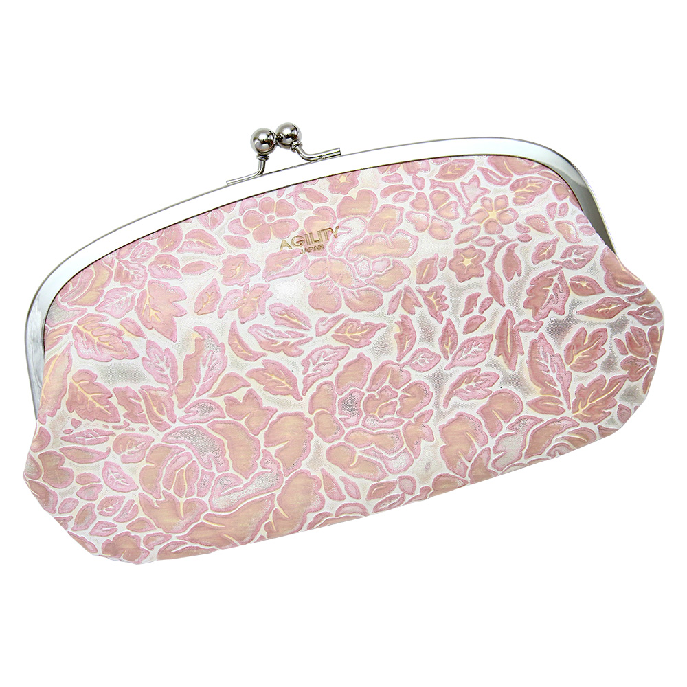 レディース 長財布 がま口 親子がま口 花柄 型押し 本革 財布 本革 ポシェット ピンク