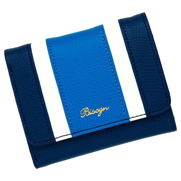 三つ折り財布 レディース コンパクトウォレット 極小財布 ミニ財布 革 ストライプ ネイビー