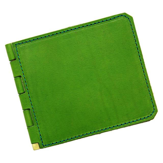 マネークリップ 蝶番 カードポケット 二つ折り 本革 レザー おしゃれ グリーン