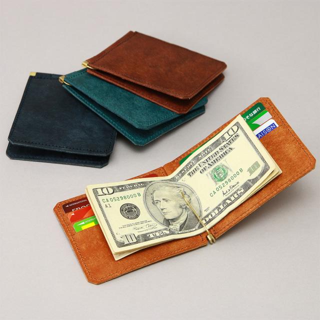 マネークリップ 蝶番 カードポケット 二つ折り 本革 レザー おしゃれ