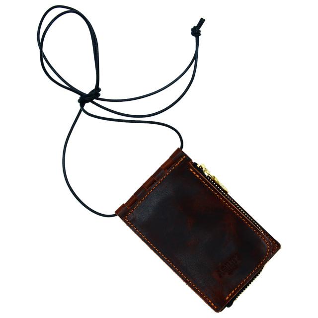 ネックポーチ 小銭入れ 本革 レザー IDケース 財布 二つ折り パスケース 首掛け ダークブラウン