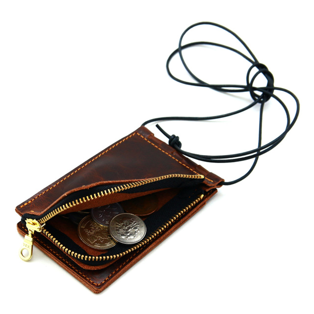 ネックポーチ 小銭入れ 本革 レザー IDケース 財布 二つ折り パスケース 首掛け