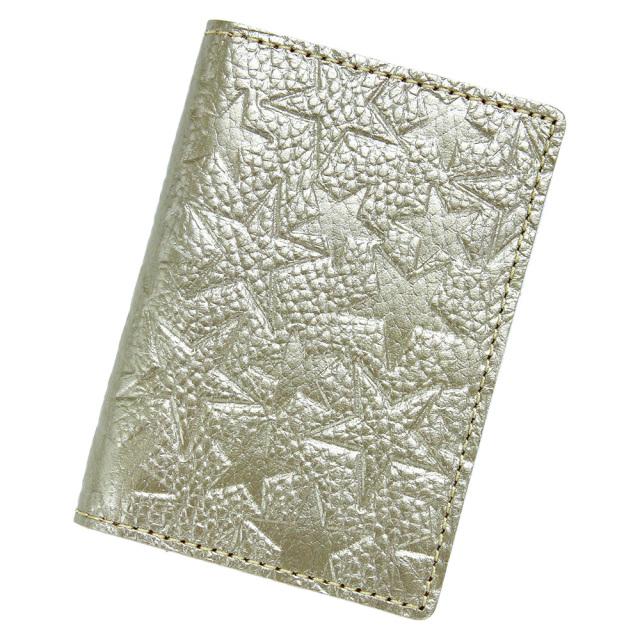 カードケース 二つ折り クリアポケット レディース 星柄 金 銀 ゴールド シルバー