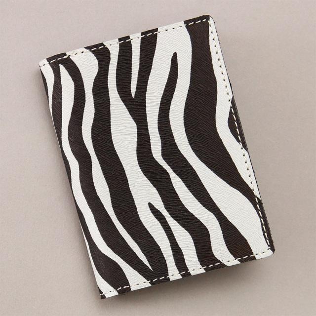 カードケース 二つ折り クリアポケット レディース アニマル柄 ゼブラ ヒョウ