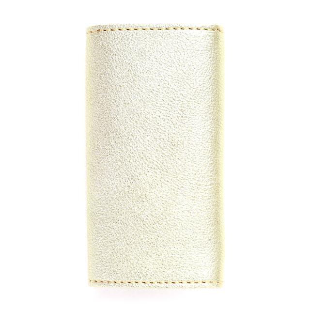キーケース 3つ折り 4連 本革 日本製 レザー 牛革 金 銀 ゴールド シルバー