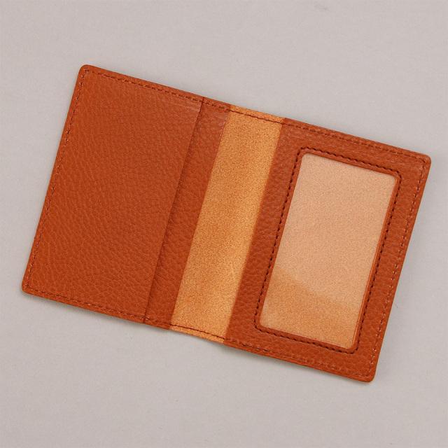パスケース 定期入れ 透明窓 二つ折り シンプル 本革 レザー 見開き