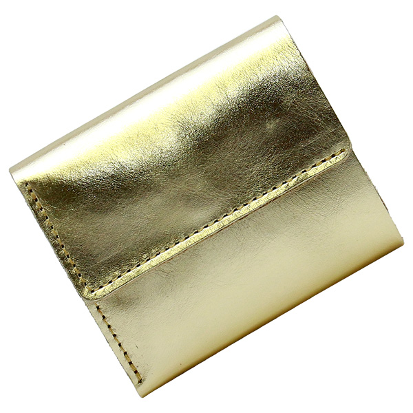 三つ折り財布 ウォレット コンパクト ミニ財布 本革 レザー おしゃれ ゴールド