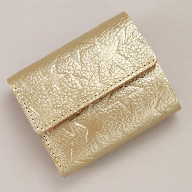 三つ折り財布 コンパクト ミニ財布 小さい財布 星柄 レディース 金 銀
