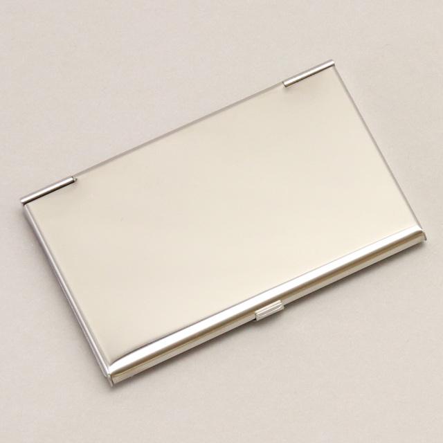 カードケース 名刺入れ ステンレス 金属 牛革 レザー ビジネス小物