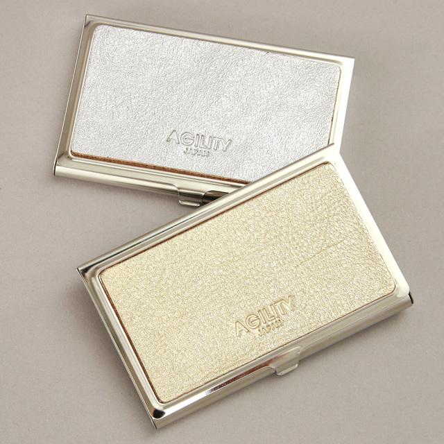 カードケース 名刺入れ 金属 ステンレス 牛革 レザー 金 銀 ゴールド シルバー