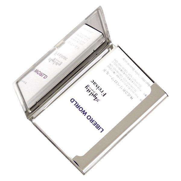 カードケース 名刺入れ 金属 ステンレス 牛革 レザー
