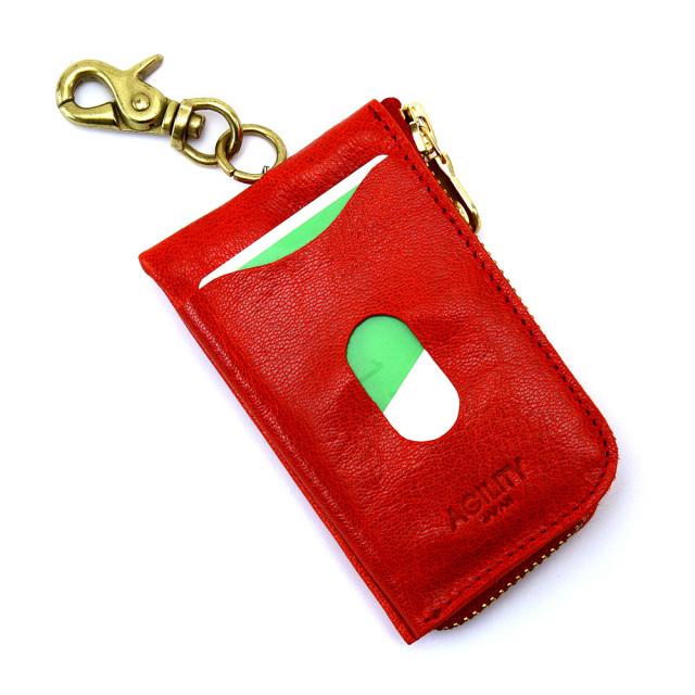 キーケース パスケース 一体型 リール付き 本革 ICカード L字ファスナー