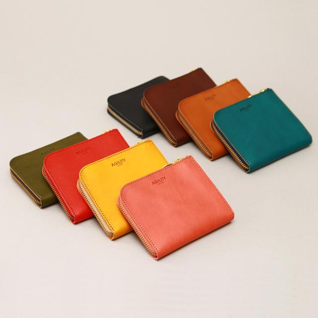 ショートウォレット L字ファスナー ミドル財布 本革 レザー コンパクト 薄型