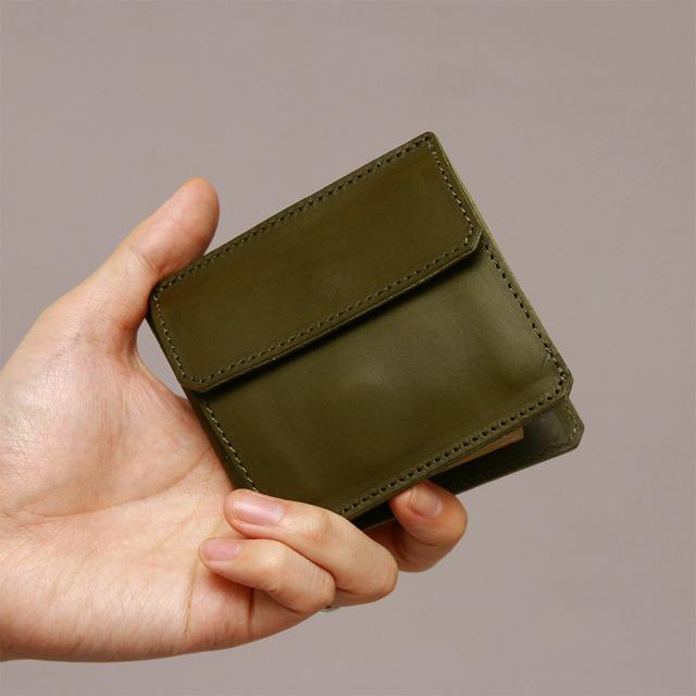 マネークリップ 二つ折り 蝶番 小銭入れ付き カード入れ付き 本革 レザー
