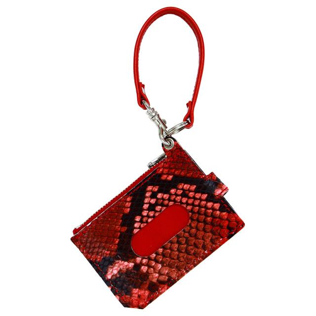 パスケース 財布 一体 ミニ財布 L字ファスナー 定期入れ ボタン パイソン レッド