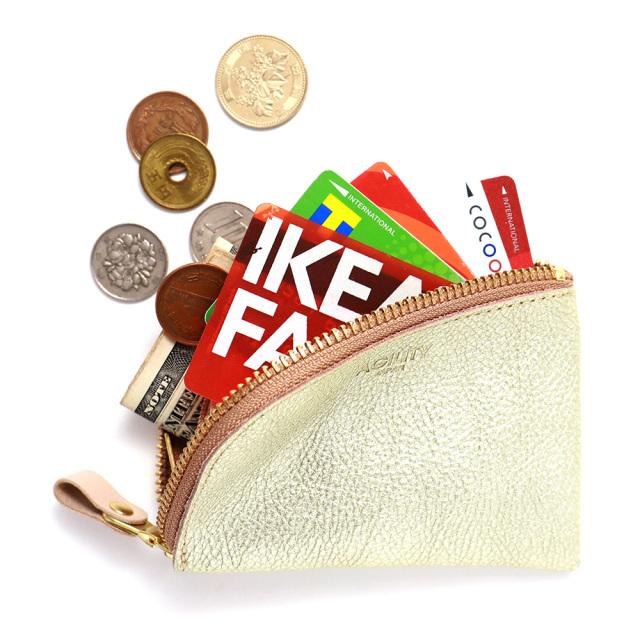 コンパクト コインケース 小銭入れ ミニ財布 L字ファスナー 金 銀 ゴールド シルバー