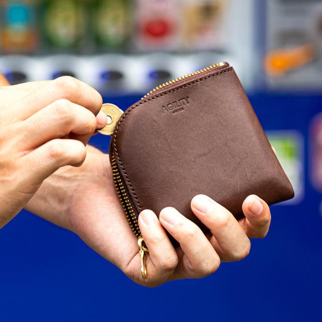 二つ折り財布 短財布 小銭入れ ワンアクション 革 小さい