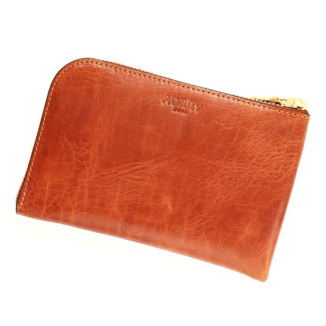 スマホ 財布 L字ファスナー 牛革 スマホが入る ミニ財布 小さい シンプル ブラウン