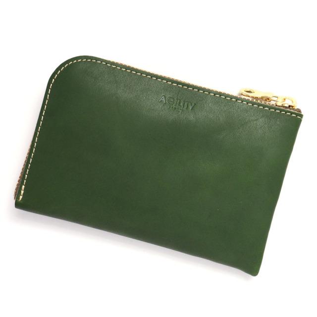 スマホ 財布 L字ファスナー 牛革 スマホが入る ミニ財布 コンパクト 小さい グリーン