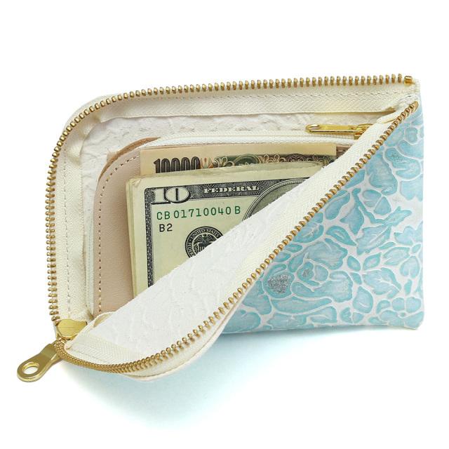 レディース l字財布 コンパクト 花柄 型押し 本革 レザー スマホが入る