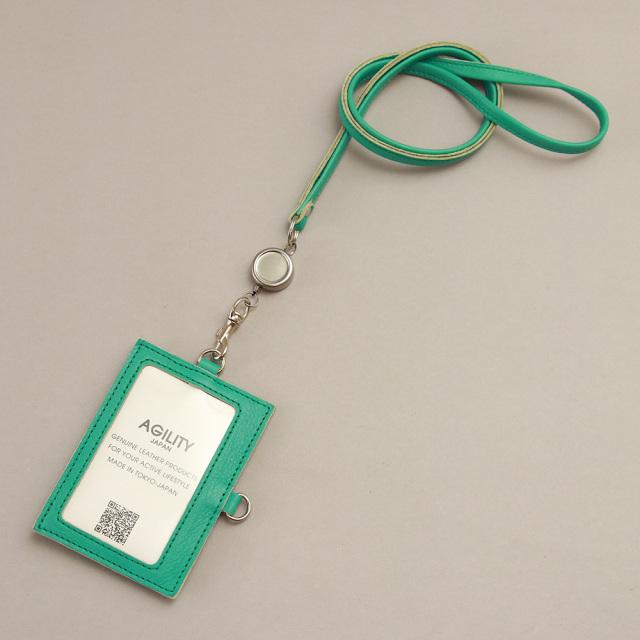 リール付き IDカードケース のびる 本革 レザー レディース IDホルダー