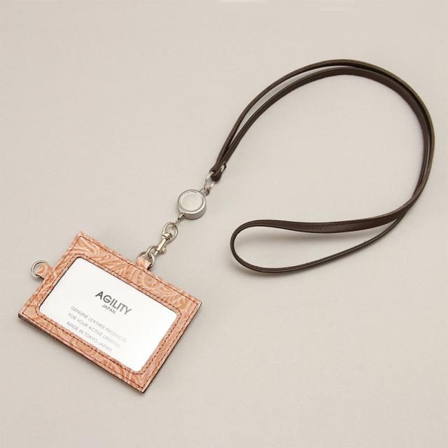 IDカードホルダー 本革 日本製 IDケース リール付き レザー 花柄 レディース ユニセックス