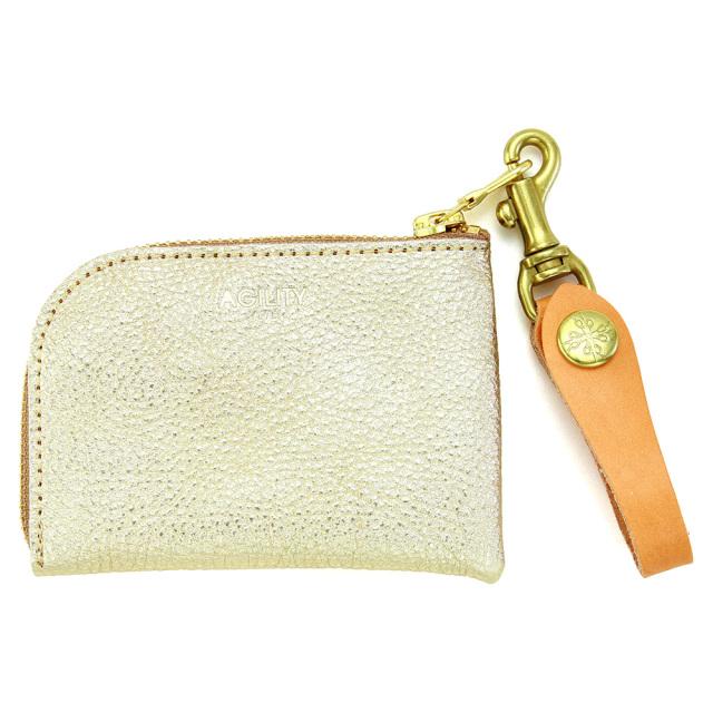 革財布 コインケース 牛革 Lジファスナー 日本製 メンズ ユニセックス ゴールド