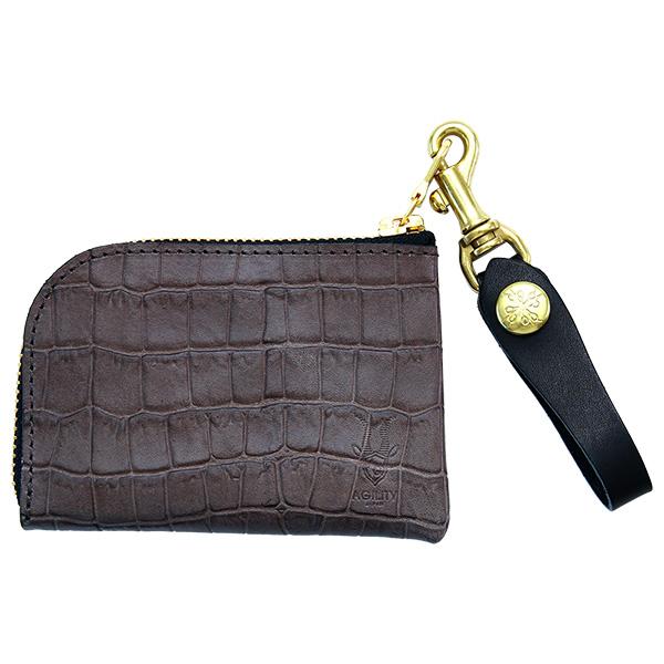 コインケース 小銭入れ カードケース アルジャン クロコエンボス 日本製 グレー