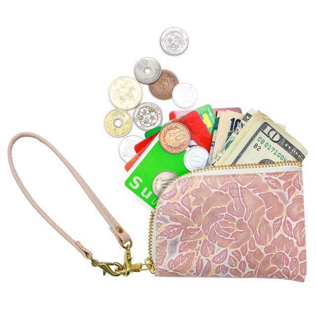レディース コインケース 花柄 型押し 本革 小銭入れ レザー カードケース