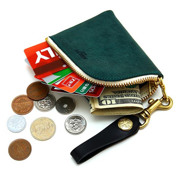 小銭入れ コインケース L字ファスナー ループ付き 日本製