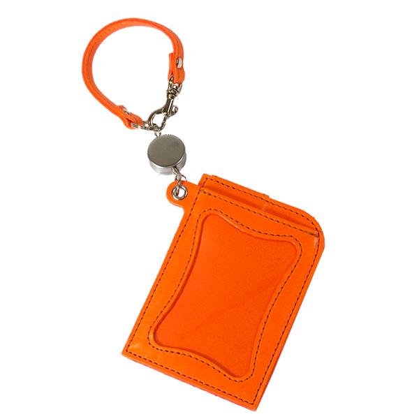 日本製 レザー パスケース メンズ レディース ユニセックス エコ ポップ リール オレンジ