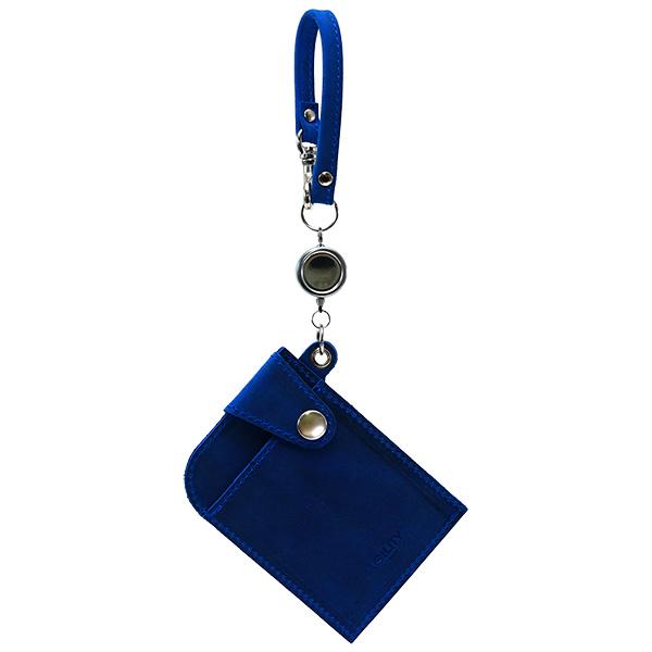 リール付きパスケース 定期入れ ICカードケース 日本製 牛革 本革 ブルー
