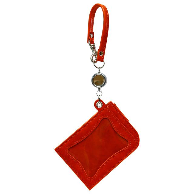 リール付きパスケース 定期入れ ICカードケース 2枚 本革 レザー 日本製 オレンジ