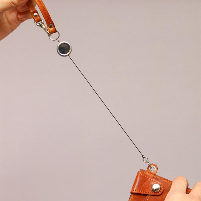 リール付きパスケース 定期入れ ICカードケース 8枚 本革 レザー 日本製