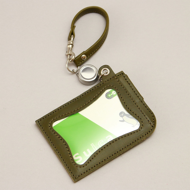 リール付きパスケース 定期入れ ICカードケース 2枚 本革 レザー 日本製