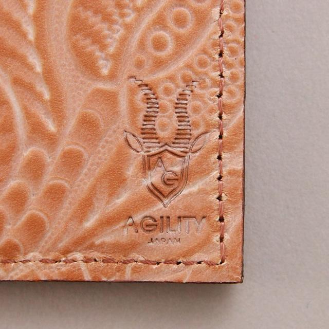 パスケース リール付き 牛革 花柄 日本製 レザー