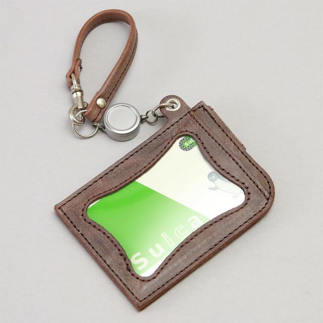 リール付き パスケース レザー 定期入れ ICカードケース 2枚
