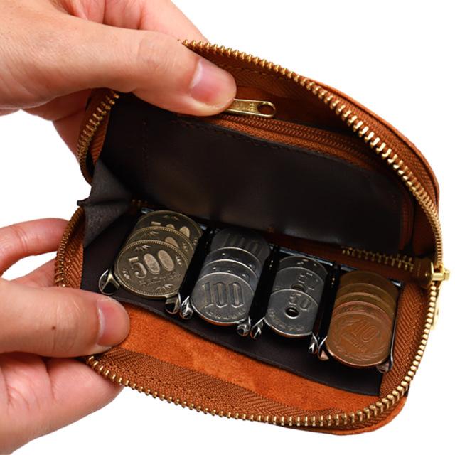 コインキャッチャー 牛革 コインケース 財布 小銭入れ ミニ財布 ラウンドファスナー