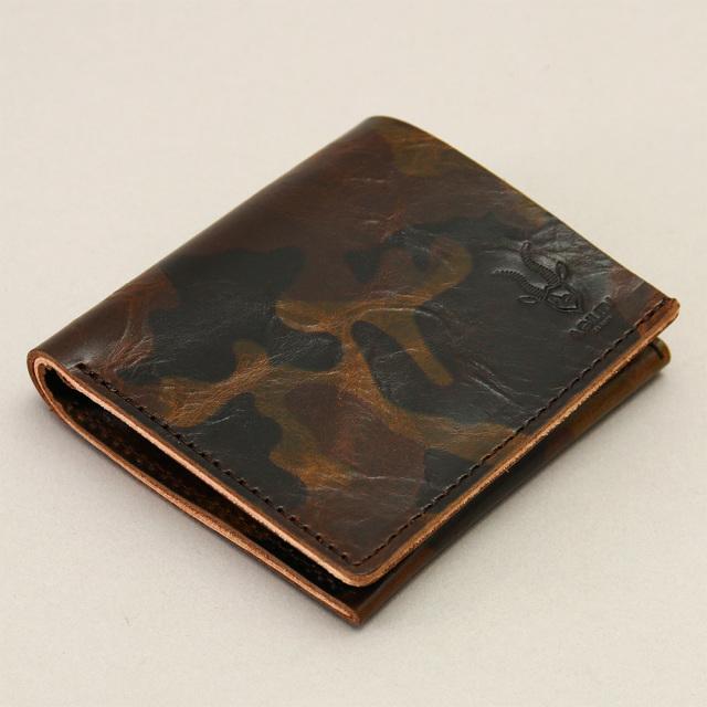 小銭入れ コインケース 札入れ 二つ折り 牛革 本革 レザー 迷彩 カモフラージュ