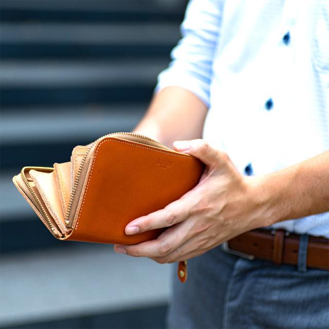長財布 ラウンドファスナー 30枚 大容量 たくさん入る 本革 レザー