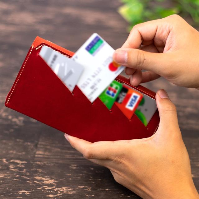長財布 折財布 カード お札 シンプル 薄型 13枚 内ポケット 本革 レザー