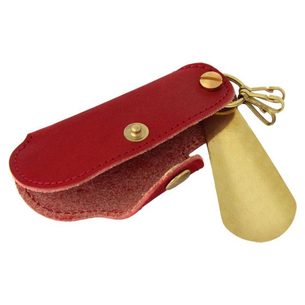 キーホルダー シューホーン 靴ベラ 真鍮 牛革 レザー メンズ ギフト プレゼント
